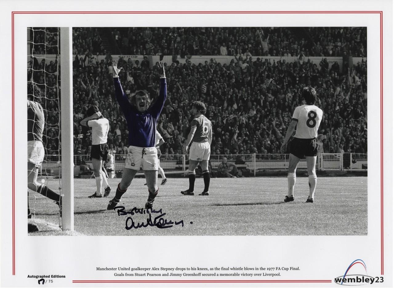 "Alex Stepney hand signed photographic print 16"" x 12"" - 1977 FA Cup Final"