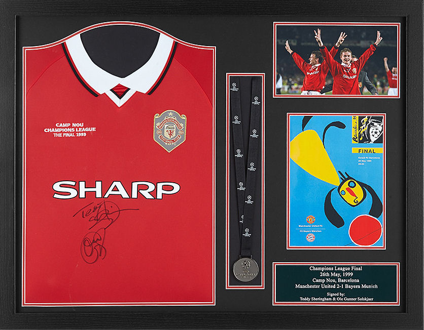 1999 Champions League Final shirt signed by the goalscorers Sheringham & Solskjaer - MUST