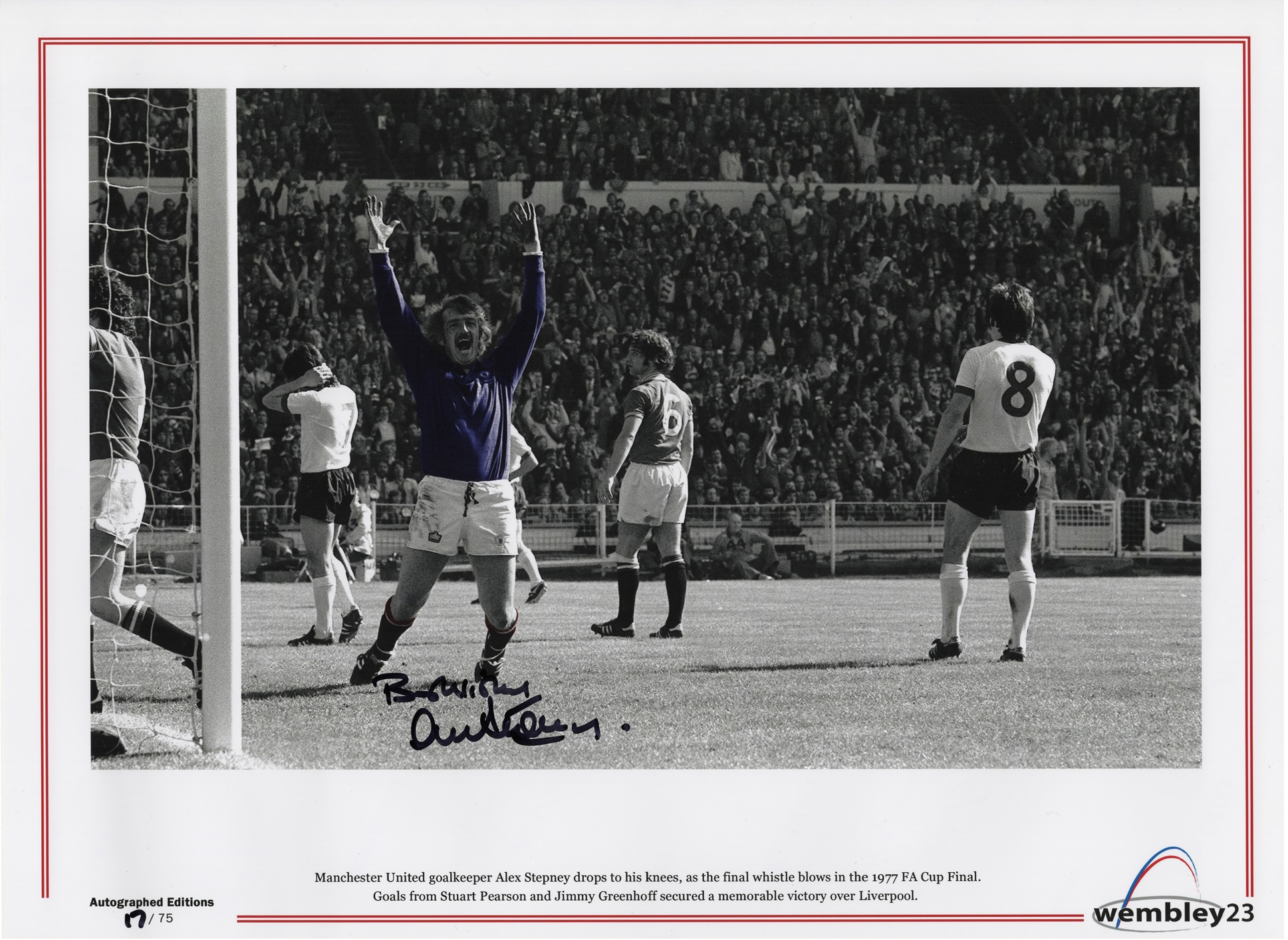 "Stunning 16"" x 12"" photographic print hand signed by Alex Stepney with a name dedication of your choice.  The image features an emotional Alex Stepney as he drops to his knees on the final whistle of the 1977 FA Cup Final win over Liverpool."